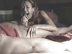 Wife tells hubby about her nite out and gives BJ