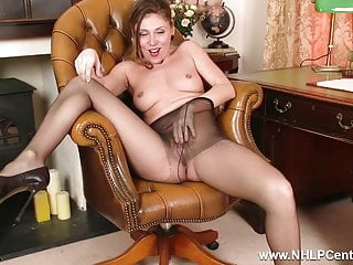 French Office Milf plays with wet pussy in ripped pantyhose